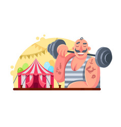 Funny circus weight lifter vector
