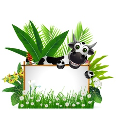 Funny cow with blank sign vector