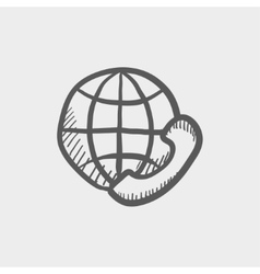 Global internet shopping sketch icon vector