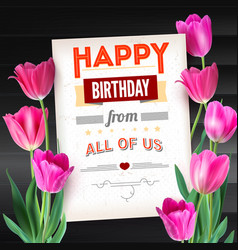 happy birthday vintage text poster composition on vector image vector image