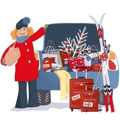 Holiday shopping vector image