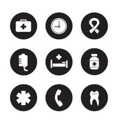 Hospital black icons set vector image