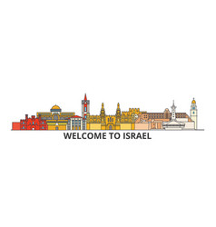 Israel outline skyline israeli flat thin line vector