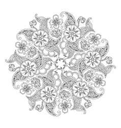 Mandala with flowers and leaves isolated on white vector image vector image