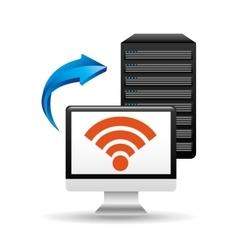 pc data base wifi arrow vector image