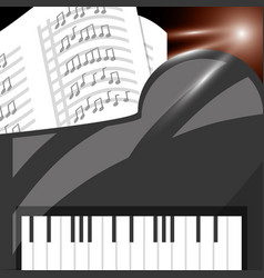 Piano instrument with music sheets vector