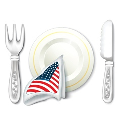 Plate Fork Knife with USA Flag vector image vector image