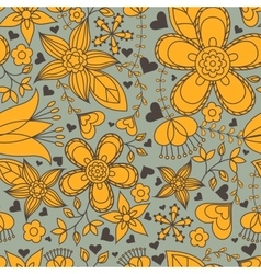 Seamless pattern gray and orange heart flowers vector