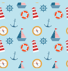 seamless pattern of marine theme set vector image