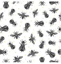 seamless pattern with bees bees with eye vector image