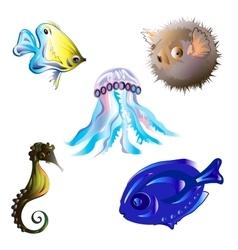 Set sea fish vector image vector image