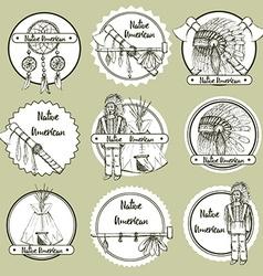 Sketch Native american symbols vector image vector image