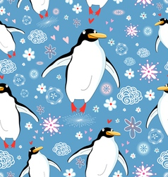 texture love penguins vector image