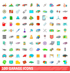 100 garage icons set cartoon style vector image