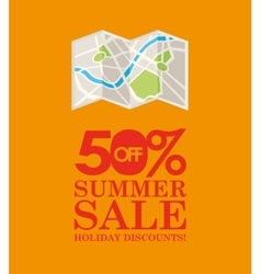 Summer sale 50 discounts with map location vector
