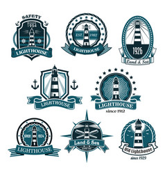 Nautical lighthouse icons set vector