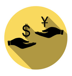Currency exchange from hand to hand dollar and vector