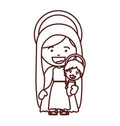 Brown silhouette of saint virgin mary with baby vector