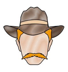 Silhouette man cowboy wear hat image vector