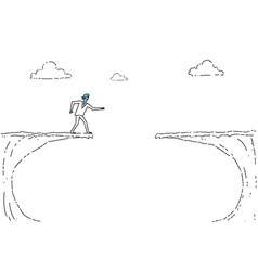 Business man blind walking to cliff gap crisis vector