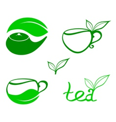Stylized tea icons vector