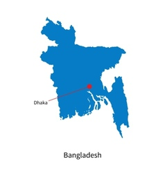 Detailed map of bangladesh and capital city dhaka vector
