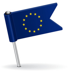 European union pin icon flag vector