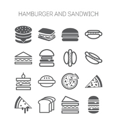 Set of simple icons with hamburgers sandwiches vector