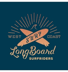Long board surf riders abstract retro label vector