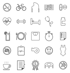 Wellness line icons on white background vector