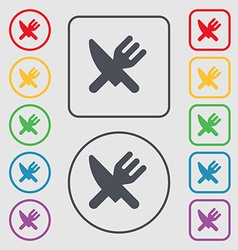 Eat cutlery icon sign symbol on the round and vector