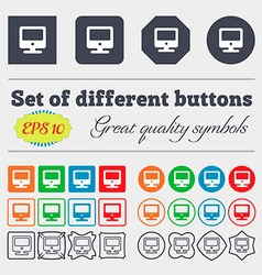 Monitor icon sign big set of colorful diverse vector