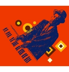 Jazz man playing the piano hand drawn sketch vector