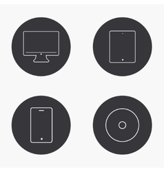 Modern gadget icons set vector