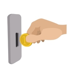 Human hand inserting coin in slot machine icon vector