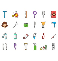 Barbershop colorful icons set vector image