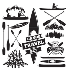 Set of canoe and kayak design elements two man in vector