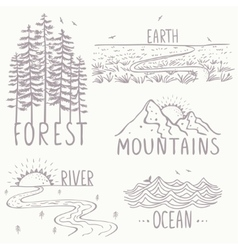 Magnificent nature set vector