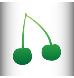 Cherry sign green gradient icon vector