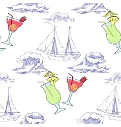 Seamless pattern with waves ships and cocktails vector
