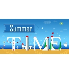 Summer time cute white houses unusual font vector