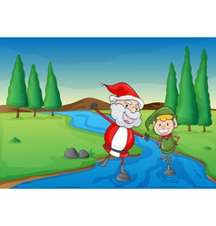 a santa claus and a boy vector image vector image