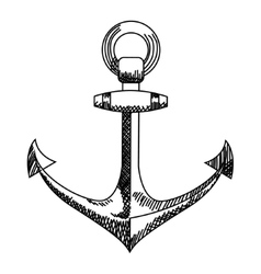 Anchor icon Nautical isolated white black vector image