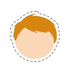 Boy family head with cut line vector