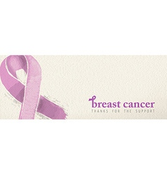 Breast cancer banner with support text and ribbon vector image vector image