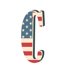 capital 3d letter c with american flag texture vector image vector image