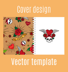 Cover design with vintage tattoo pattern vector