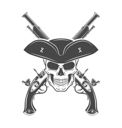 Evil captain skull in cocked hat template vector