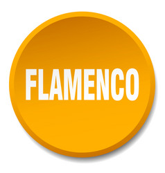 Flamenco orange round flat isolated push button vector
