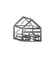 Greenhouse hand drawn sketch icon vector